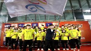 110年全運會高雄代表隊授旗誓師 展現超越自己的奪金氣勢